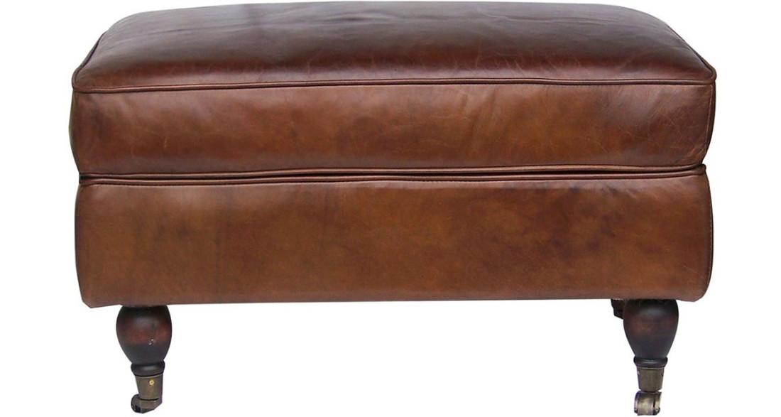 pouf club en cuir pleine fleur marron vintage arlington. Black Bedroom Furniture Sets. Home Design Ideas