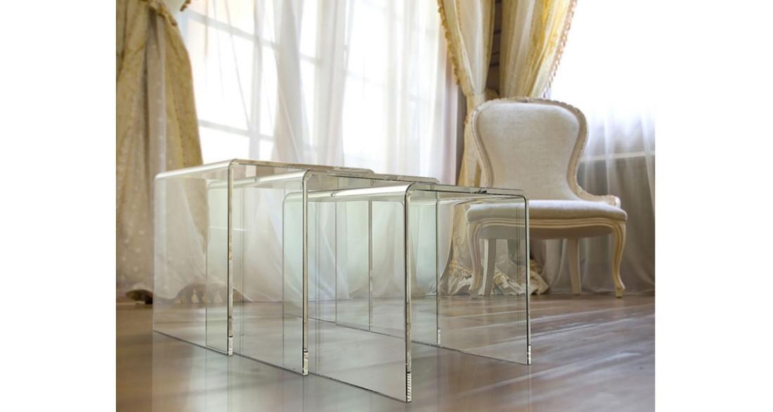 table basse gigogne en verre haute r sistance tierce 4 coloris. Black Bedroom Furniture Sets. Home Design Ideas