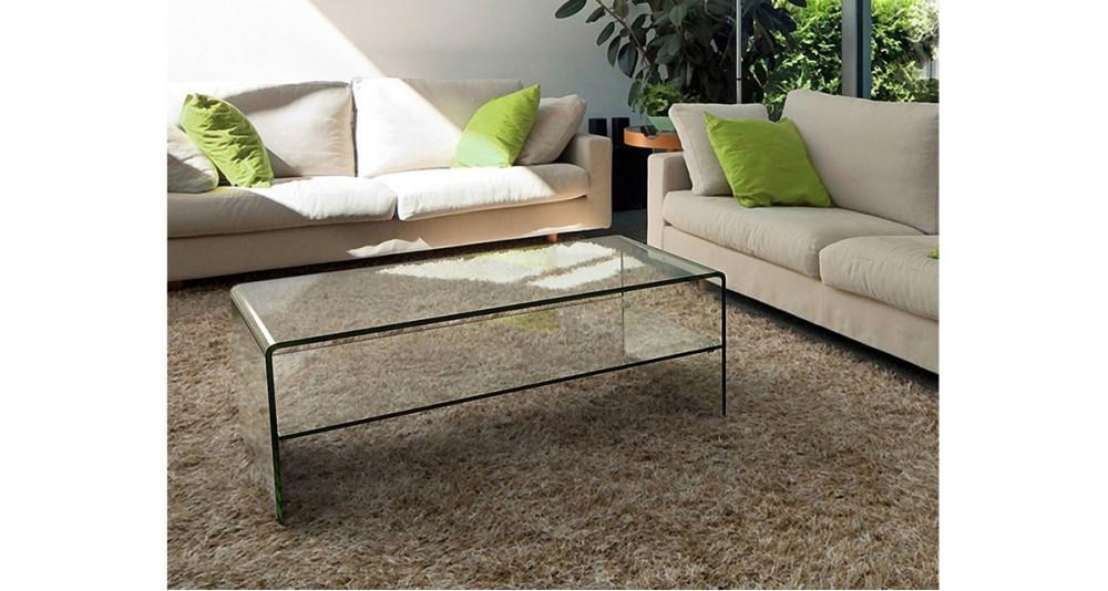 Table basse en verre clair double plateau Pauline