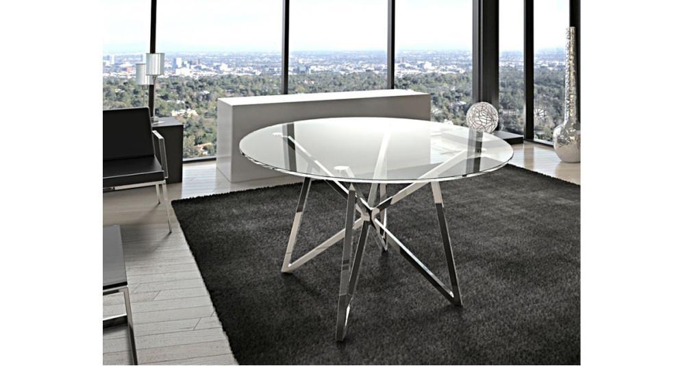 Table Repas Ronde 120 Cm Plateau Verre Et Pieds Metal Oceanne