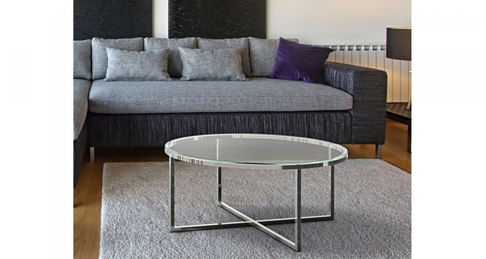 Table basse ronde en verre pieds métal Nyna - 10 coloris