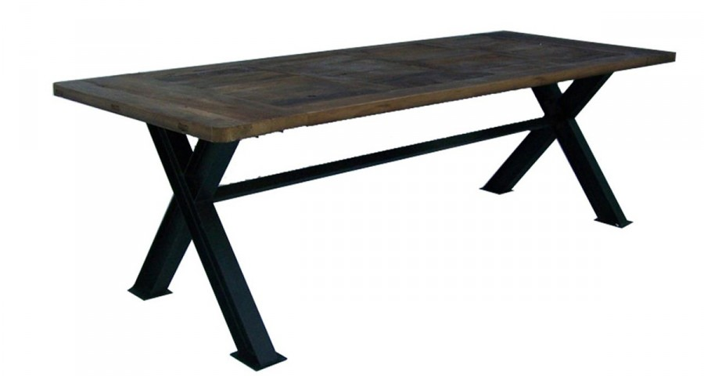 Table De Repas Industrielle En Bois Et Metal 250 Cm Shirley
