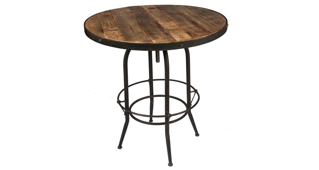 Table haute ronde design industriel en bois et métal Linton
