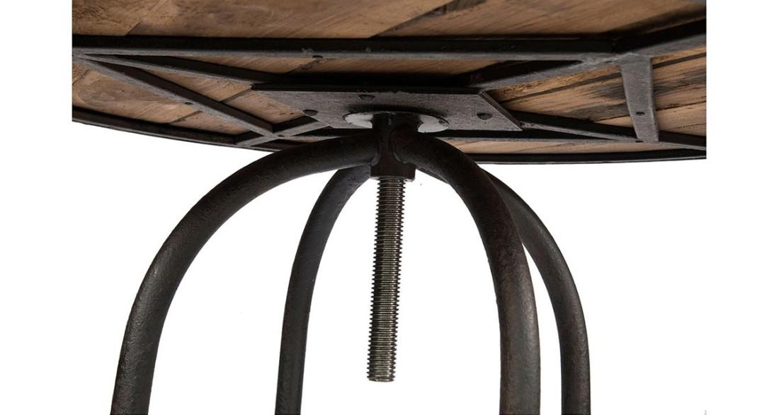 Table haute ronde design industriel en bois et m tal linton - Table haute bois metal ...