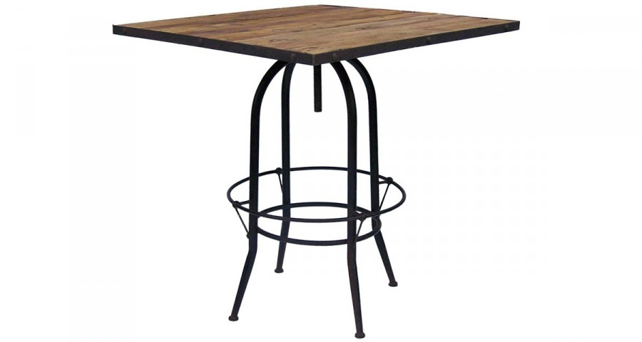 Table de bar carrée industrielle 90 cm Littleton