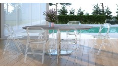 Lot 2 chaises pliantes en polycarbonate Ornella - 2 coloris