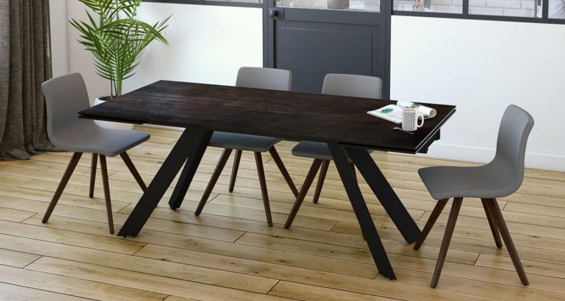 table de repas extensible au design contemporain cinabre. Black Bedroom Furniture Sets. Home Design Ideas