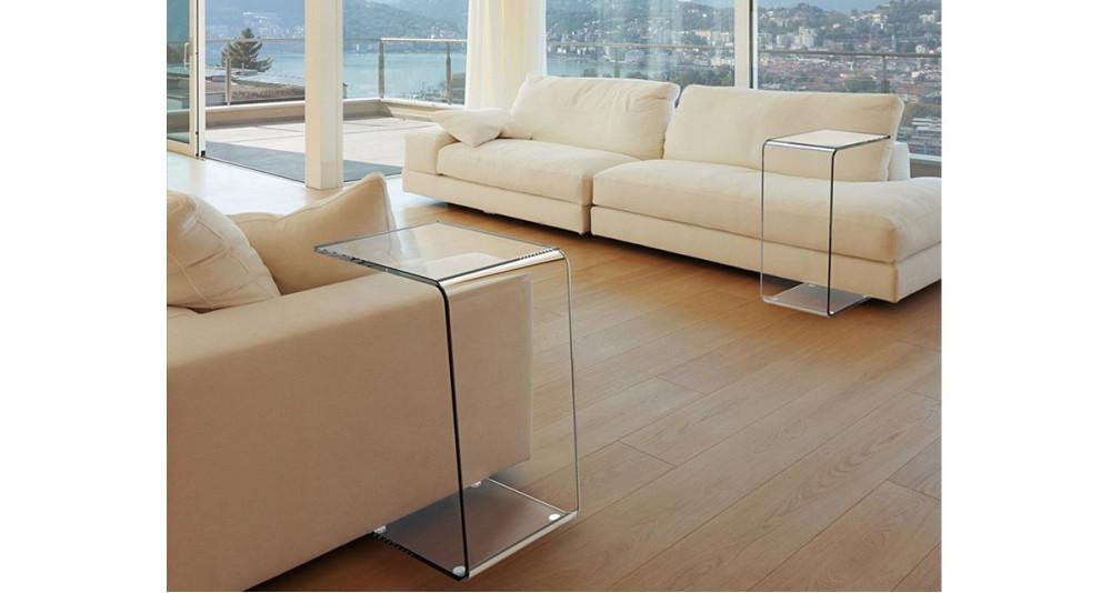 Bout de canapé minimaliste en verre Lylou - 3 coloris