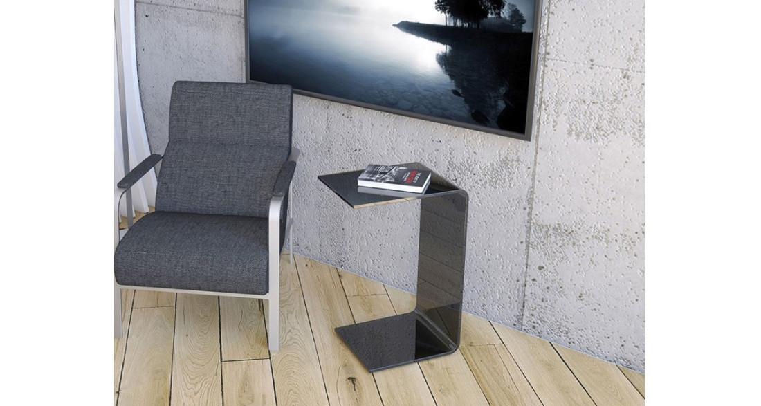 Bout de canapé minimaliste en verre courbé à chaud Lylou ...