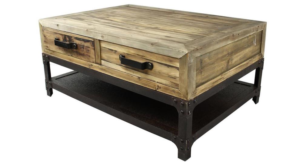 table basse industrielle en bois et m tal cullen. Black Bedroom Furniture Sets. Home Design Ideas