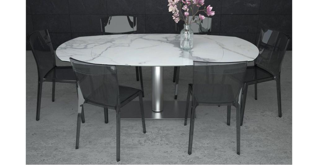 Table repas ovale à rallonge automatique Bauxite - 4 coloris