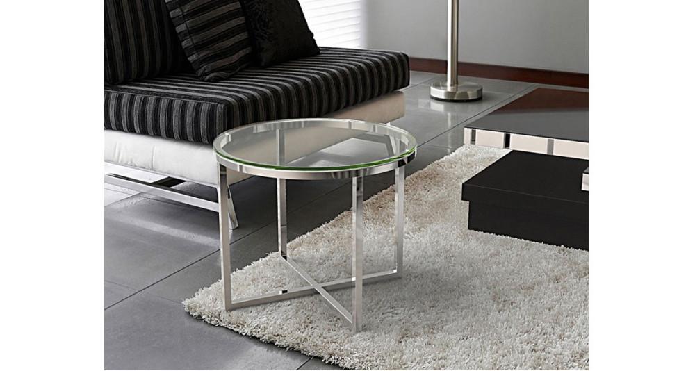 Petite Table Basse Ronde En Verre Trempe Et Pied Metal Nyna
