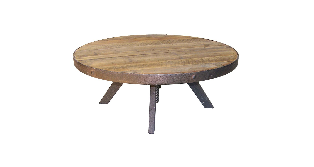 Table basse ronde en bois et m tal heelands Table basse ronde bois et metal