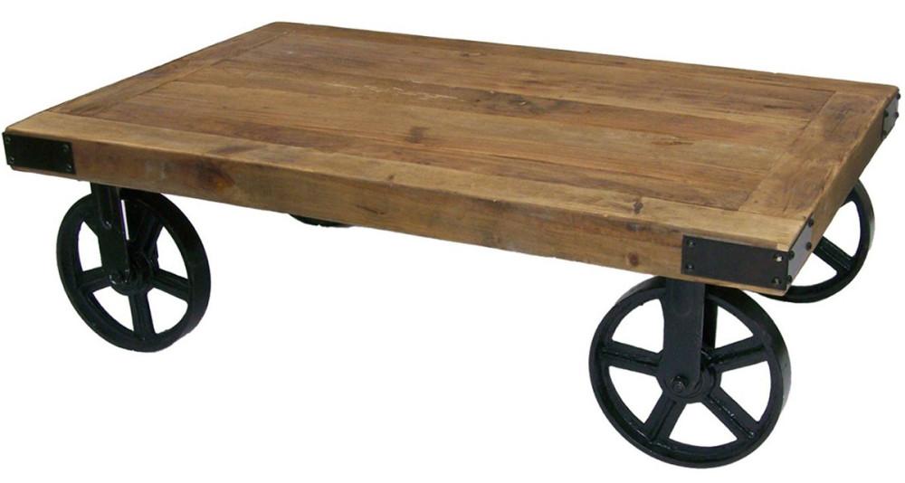 Table basse industrielle à roues Cedre