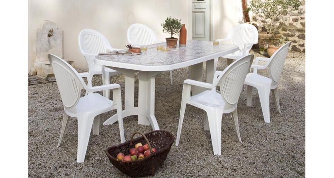 Table de jardin Vega 165 ou 220 cm pliante et pied rabattable Grosfillex