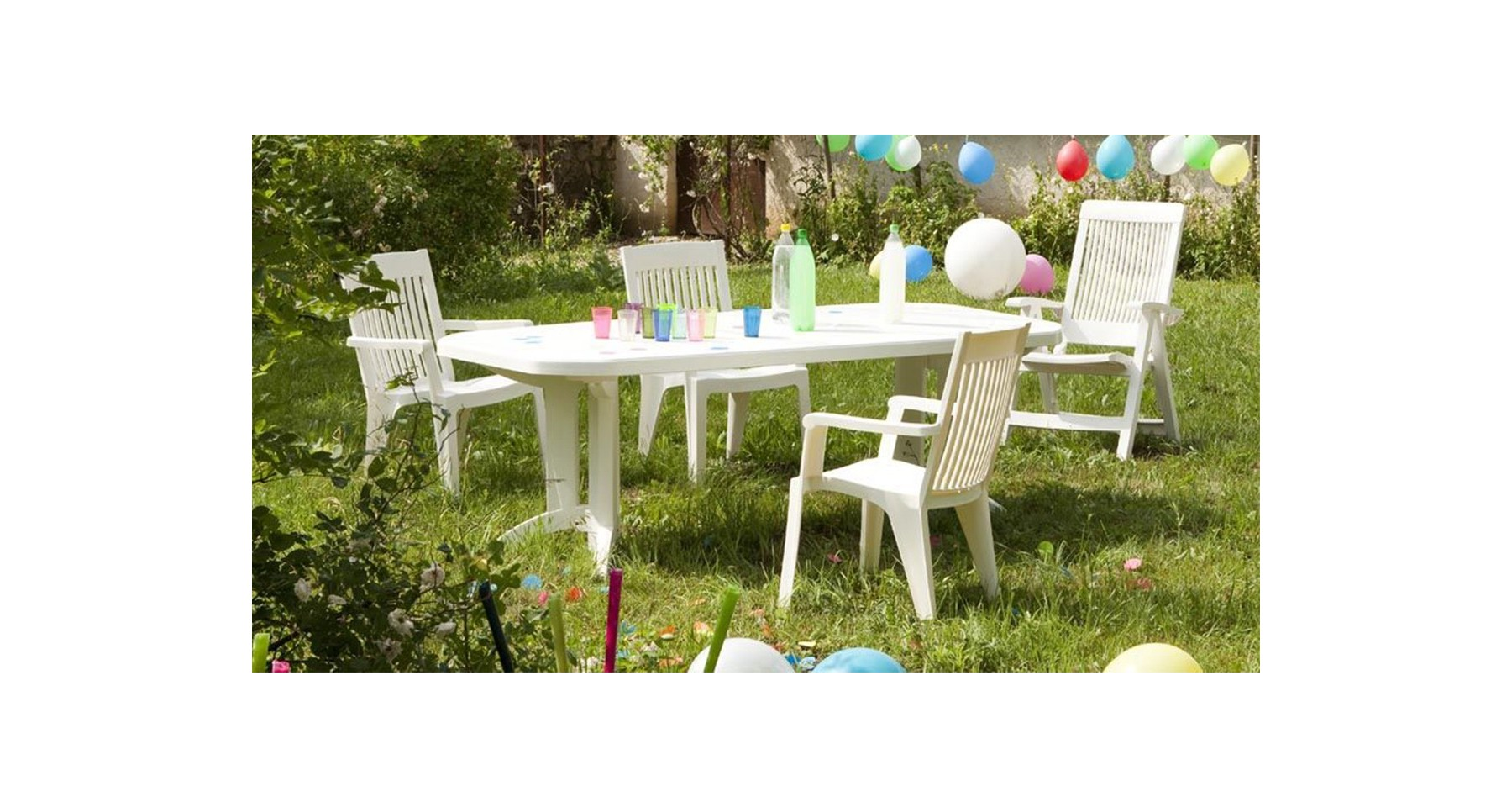 Lot 6 tables de jardin extensibles 165 à 220 cm Vega Grosfillex