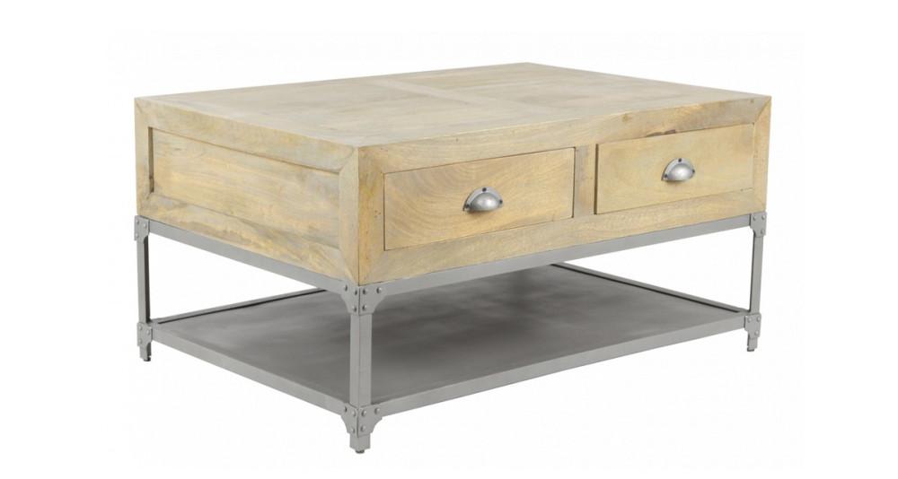 Petite table basse industrielle en bois et métal McAlester
