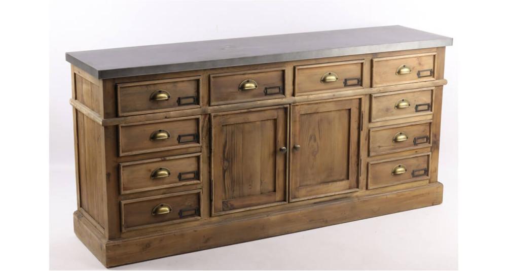 Enfilade vintage en bois recyclé et plateau zinc Govenlock