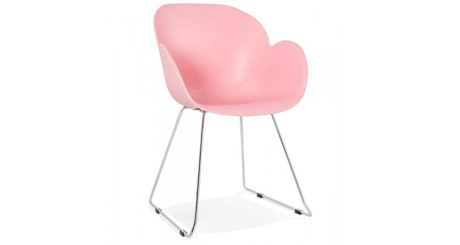 Chaise scandinave rose clair pieds métal Onoro