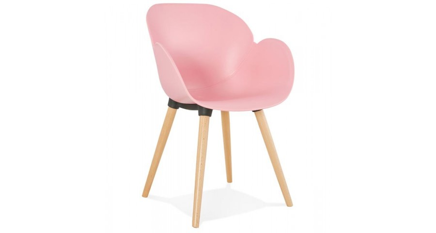 Chaise scandinave rose clair pieds bois Lichata