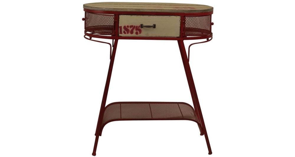 Petite console vintage en fer rouge Sandy
