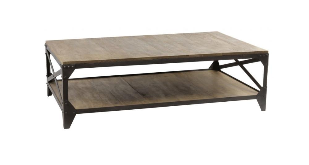 Table basse 140 cm bois et métal Hacklet
