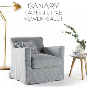 Fauteuil en lin froissé Sanary