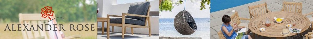 Alexander Rose mobilier de jardin en bois, résine tressée et métal