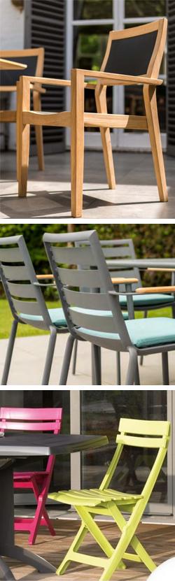 Matières mobilier outdoor bois métal plastique