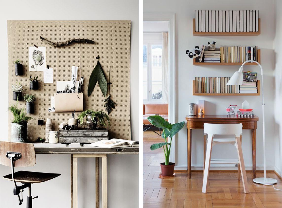 Mood board et bureau créatif, étagères murales
