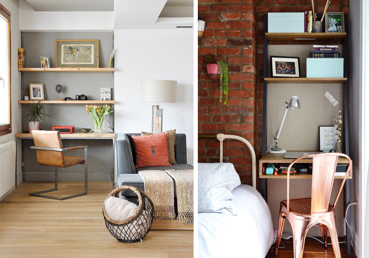 Recoin et renfoncement : espace aménagé en petit bureau
