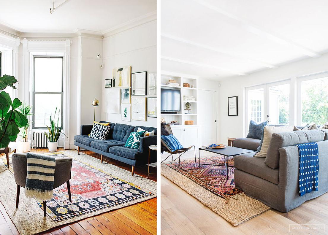 Superposer deux tapis dans le salon