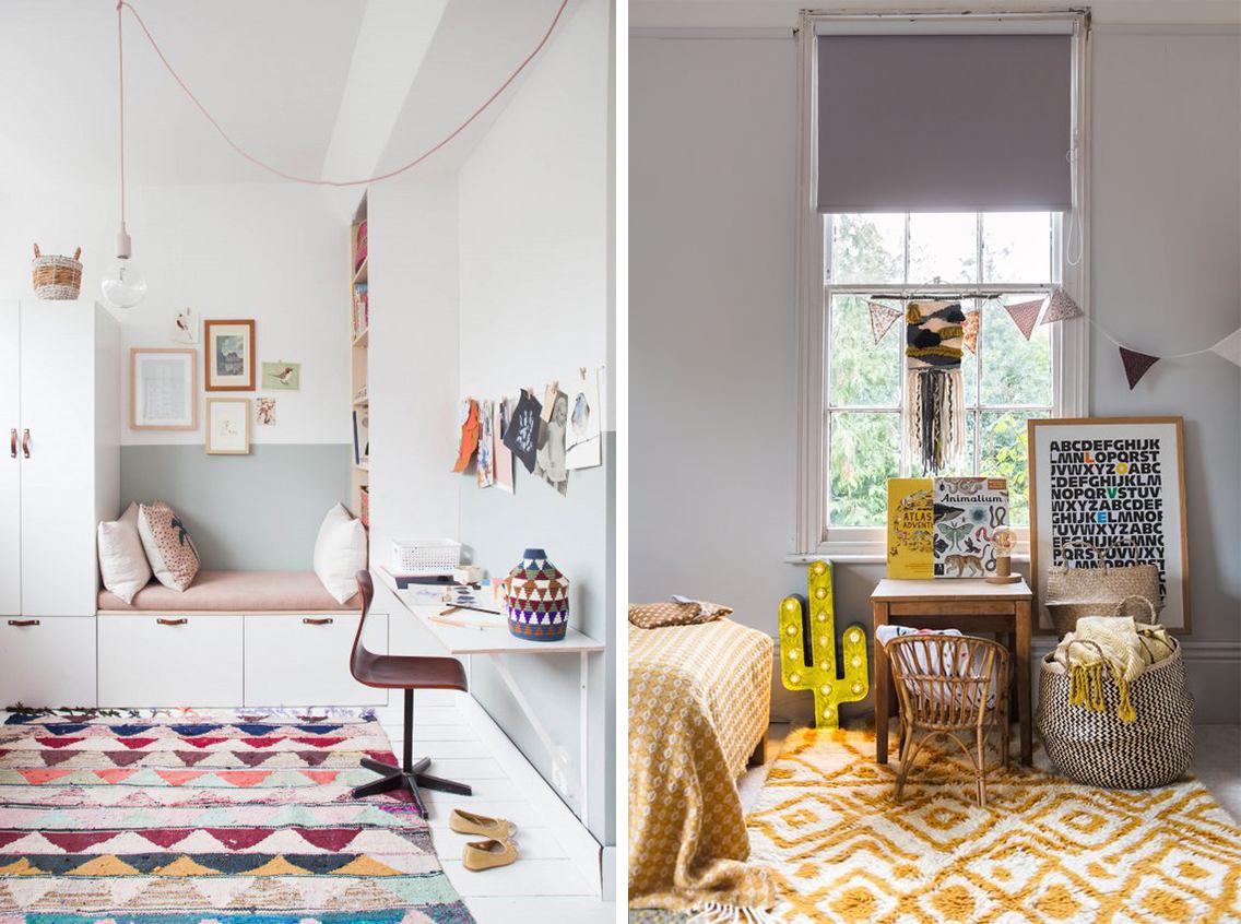 tapis colorés assortis à la déco en couleurs