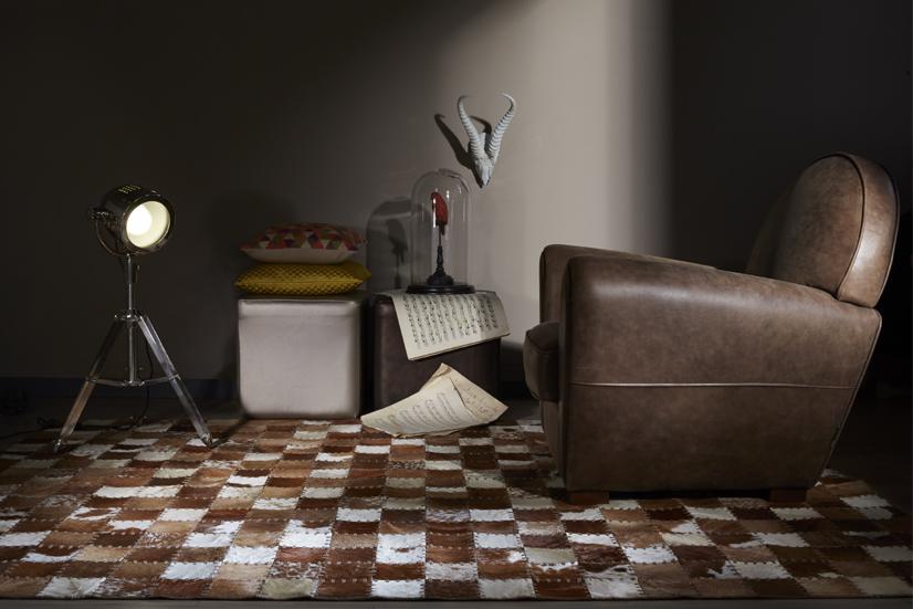 Fauteuil club en cuir et tapis montana en cuir