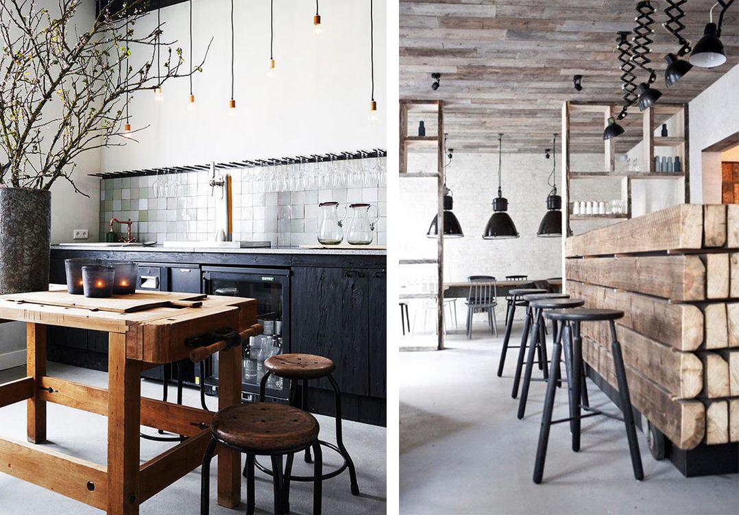 Cuisine au style industriel avec meubles en bois et plan de travail recyclé