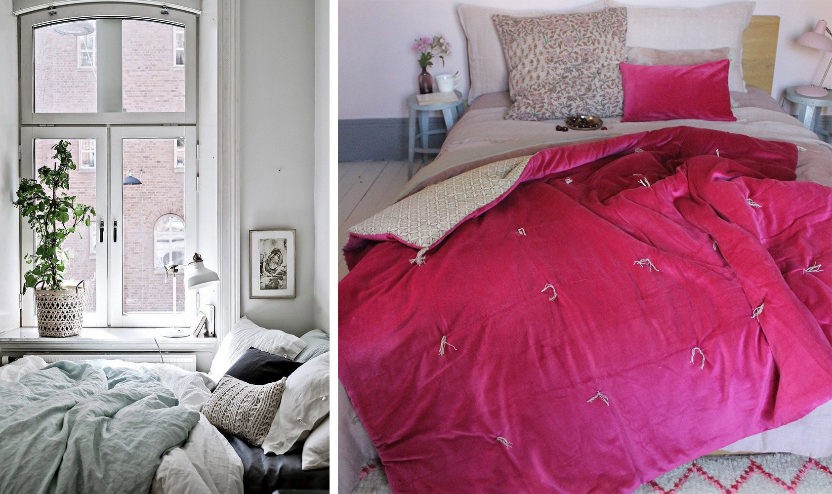 Parure de lit assortie, chambre à coucher suédoise design