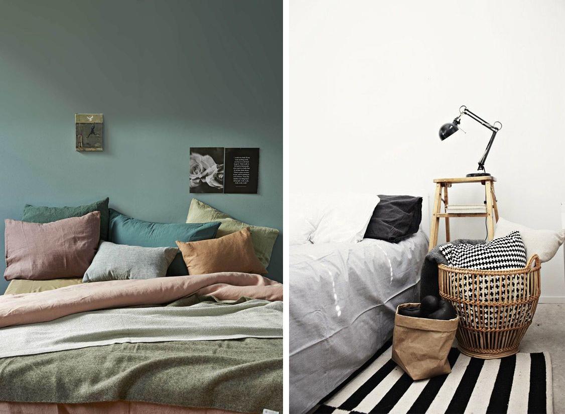 Coussins et oreillers sur le lit, panier de de rangement