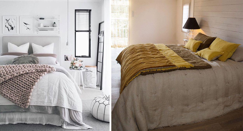 Plaids et couvertures sur le lit, jeté de lit et courtepointe