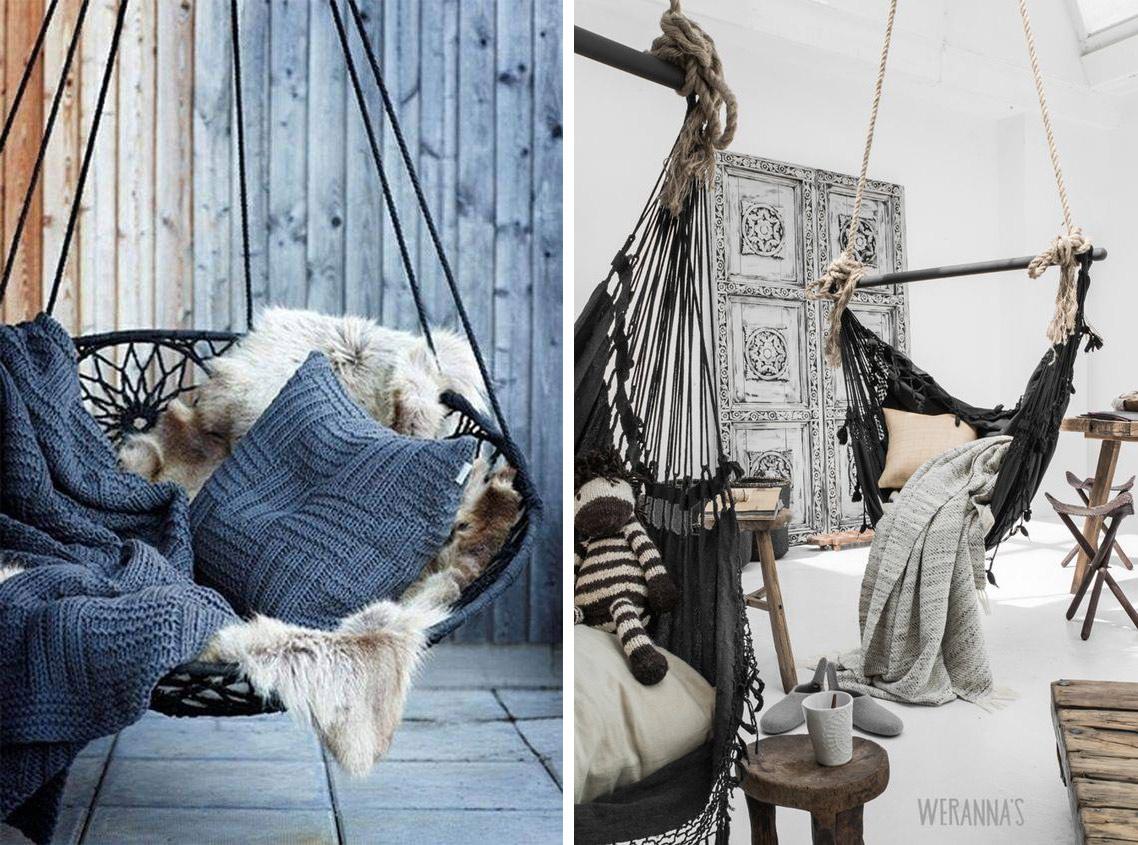fauteuil suspendu dans le salon en hiver