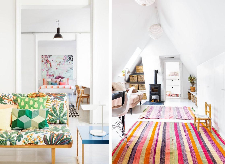 Fond blanc scandinave et textiles colores : tapis et canapé