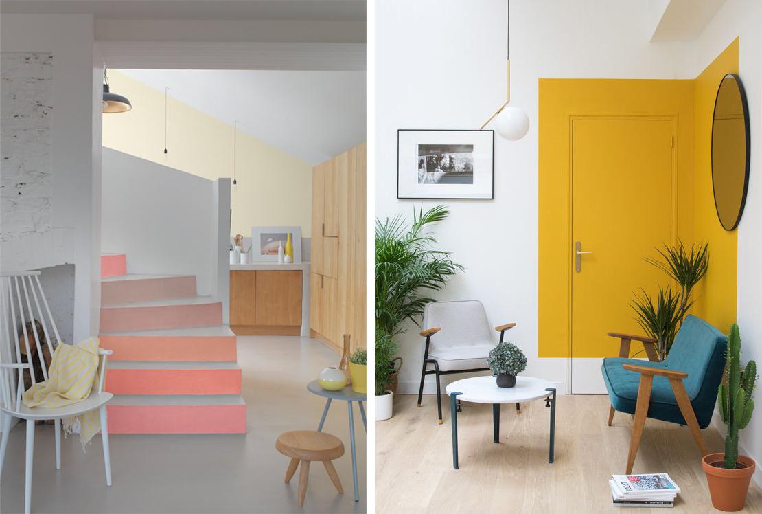 Déco scandinave peinture couleur mur escalier