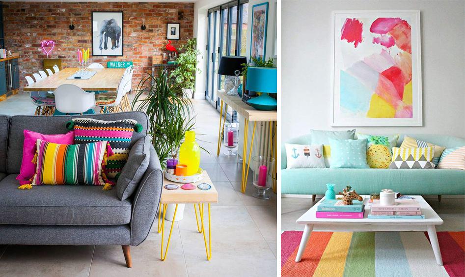 textiles colorés : tapis coussins plaids