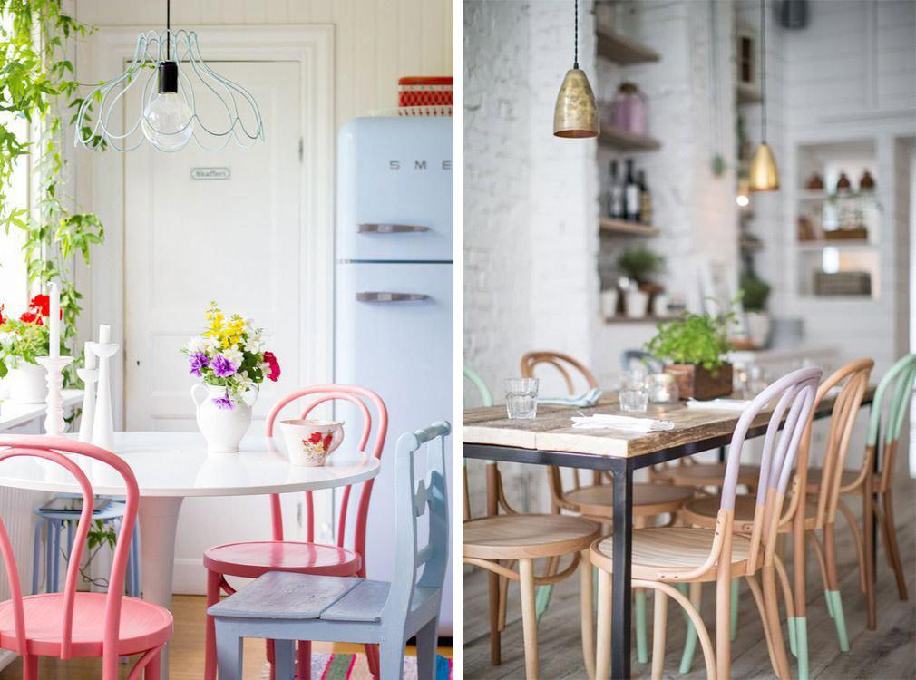 Chaises bistrot colorées, peinture couleurs vives ou pastel