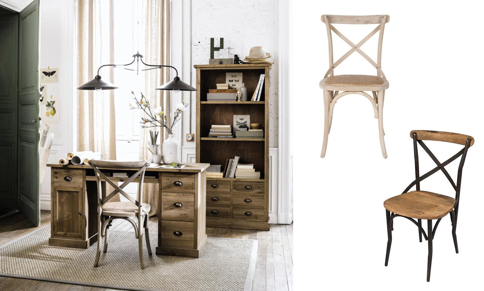 Chaise bistrot bois et métal dossier croisé aspect rustique