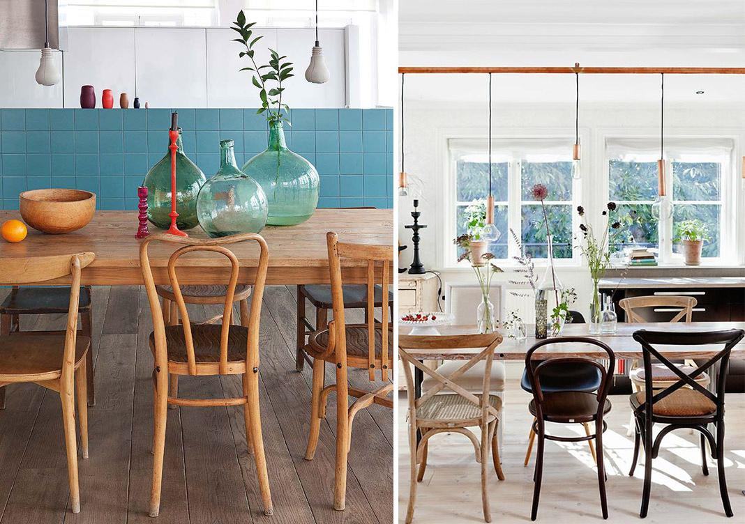 chaises dépareillées style bistrot vintage rétro