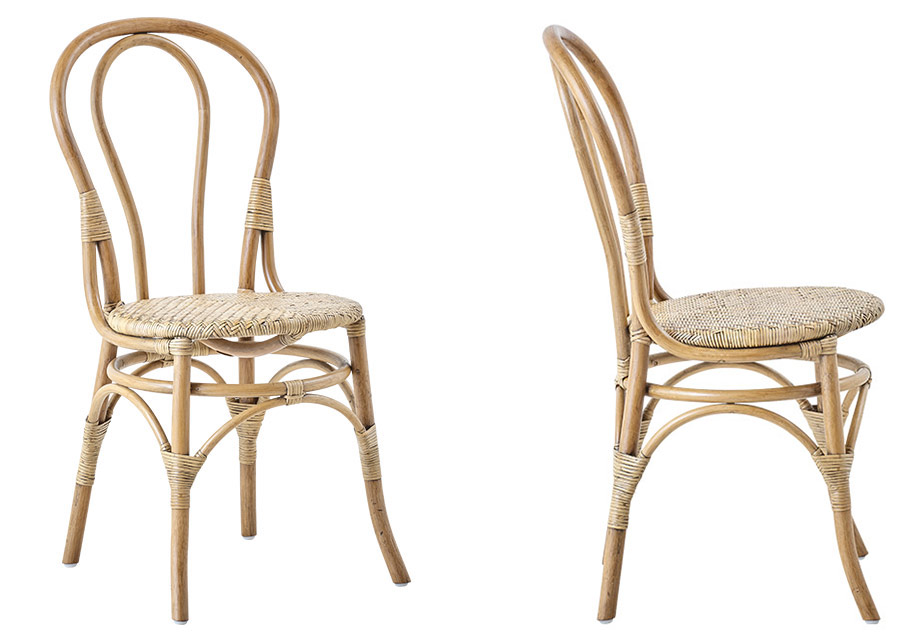 Chaise bistrot Lulu Sika Design Rotin naturel tressé main confortable