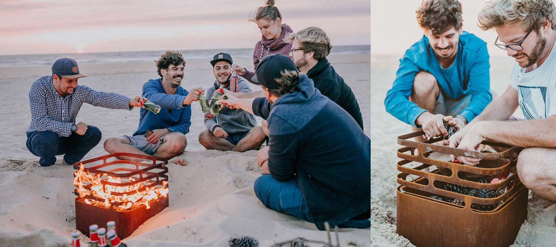 Cube finition rouille, brasero sur la plage