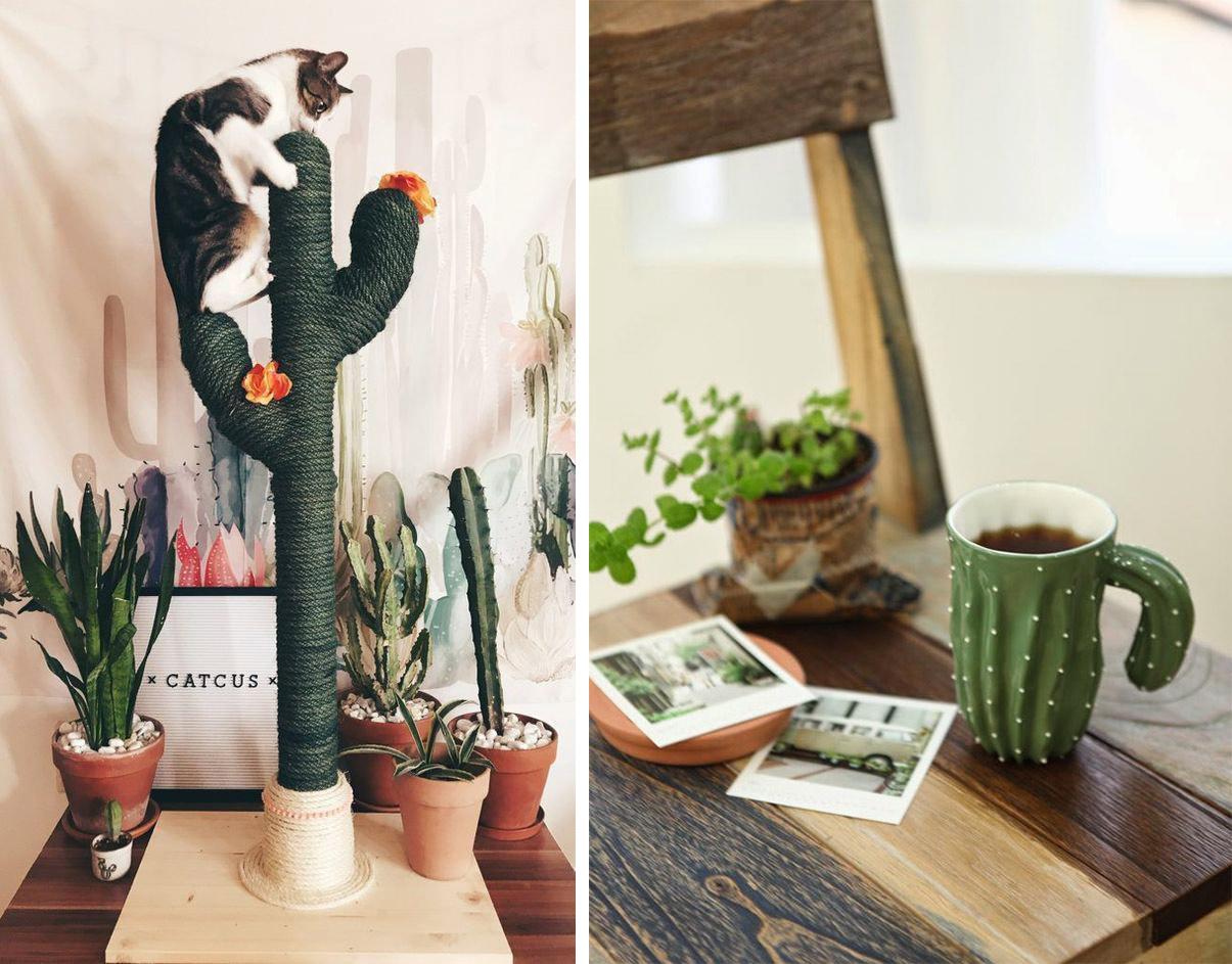 Arbre à chat en forme de cactus DIY, et mug en forme de cactus céramique