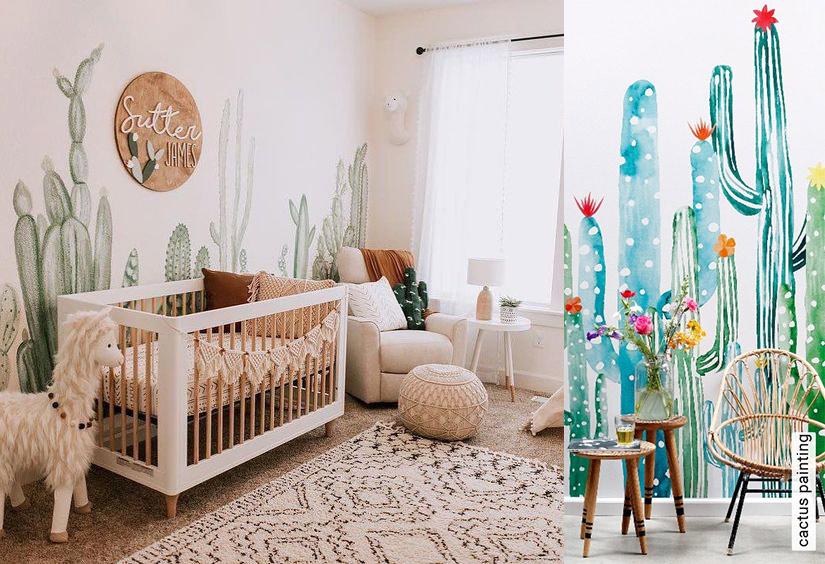 Cactus en papier peint, tapisserie chambre enfant et bébé