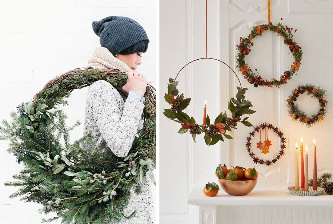 Couronnes de Noël nature DIY branches sapin, feuilles, houx, pommes de pin